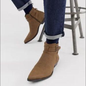 ASOS Design stacked heel western Chelsea boot tan
